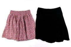 Lot 2 Women Skirts Fun High Waist Pink Max Studio Black Floral Back to School S