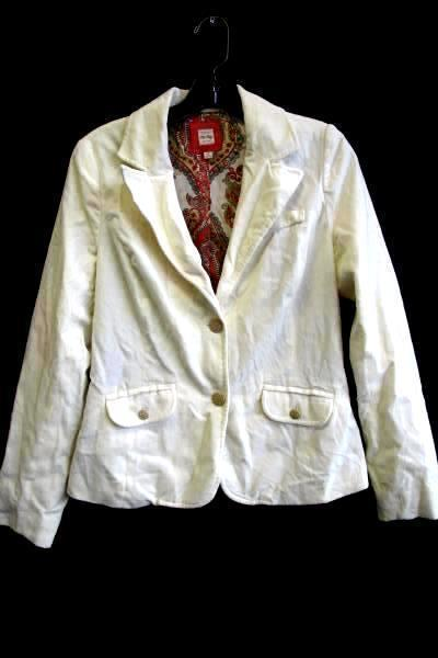 Women's Cream & Multi-Colored Blazer by Old Navy Size S Floral Paisley Lining