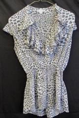 Cheetah Print Blouse by Xhilaration Grey & White See-Through Women's Size S