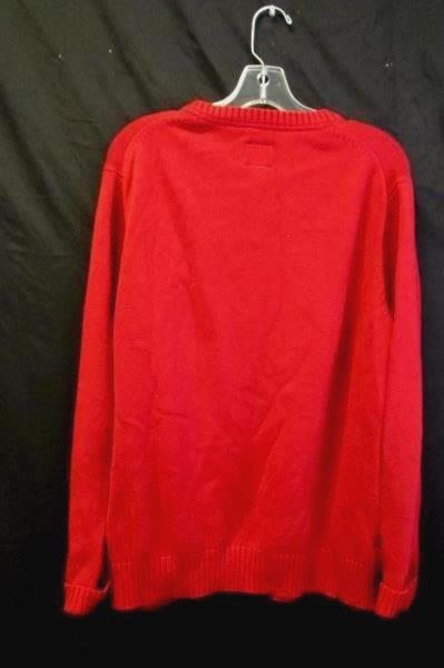 Men's Sweater Red by St John's Bay Size L 100% Cotton Crew Neck Folded Cuffs