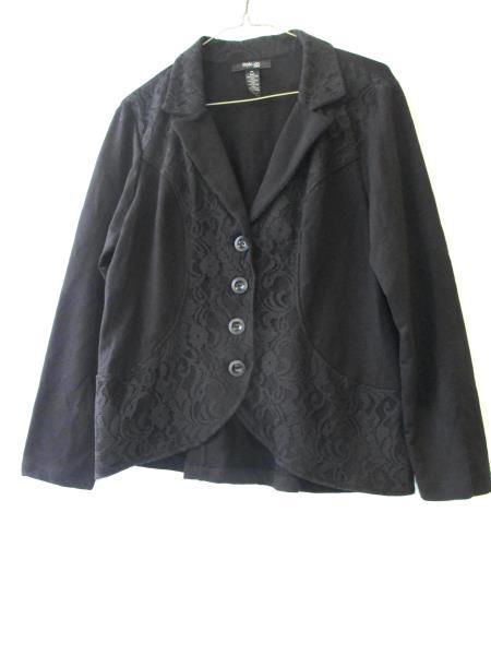 Style&Co Petite Women's Blazer Black Size PL Long Sleeve Lace 1/2 Button Up