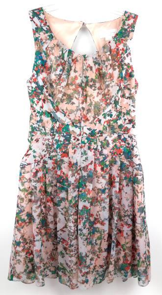 JESSICA SIMPSON Blush Pink Floral Print Back Cutout Dress Career Pleated Sz 4