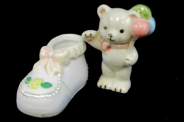 Vintage Lot of 2 Baby Decor Hand Painted Porcelain Baby Shoe Teddy Bear Balloons