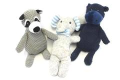 Lot of 3 Baby Plush Squeaky Toys Hippo + Elephant + Raccoon Stuffed Animals
