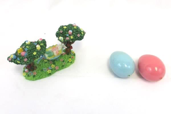 Easter Lot Decor Wooden Egg Table Mini Basket Ganz Figurine Plush Bunny Egg