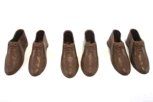 Lot of 3 Pairs of Vintage Plastic Doll Shoes Brown Oxford Lace Up USA Made