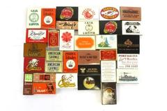 Lot of 33 Vintage Wood Stick Match Boxes Strike on Box Restaurants Hotels Ads