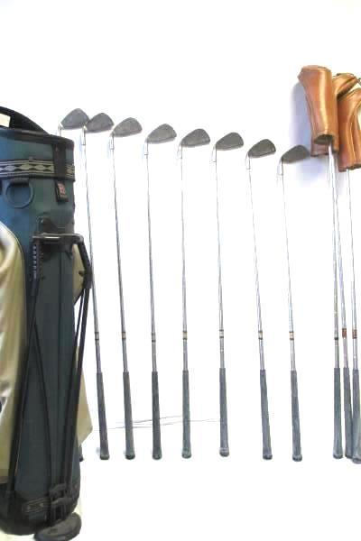 Lot of 11 Assorted Golf Clubs with Green And Black Golf Bag By Bennington