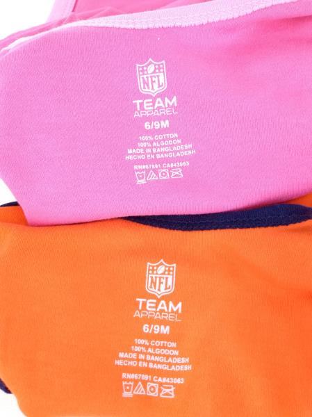 NFL TEAM APPAREL BRONCOS One Piece Bodysuit 2-pk Orange & Pink 6-9 Months