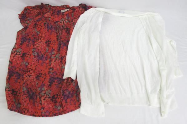 Lot of 2 Cardigan & Blouse By Old Navy White Multi Colored Floral Women's Size L