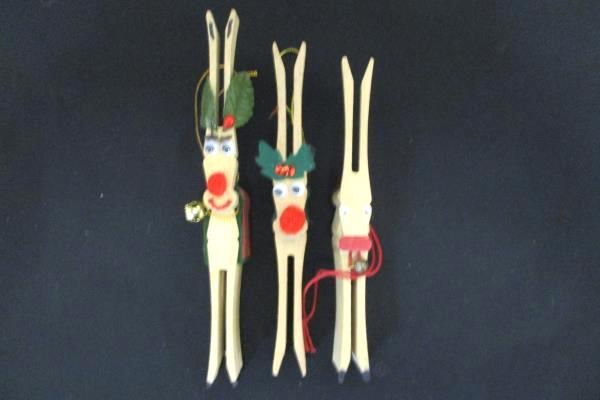 Lot of 5 Handmade Rustic Decor Clothespin Reindeer & Sheep Christmas Ornaments