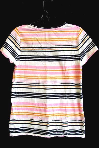 Women's Multi-Colored Short Sleeve Striped Top By Merona Size S 100% Cotton