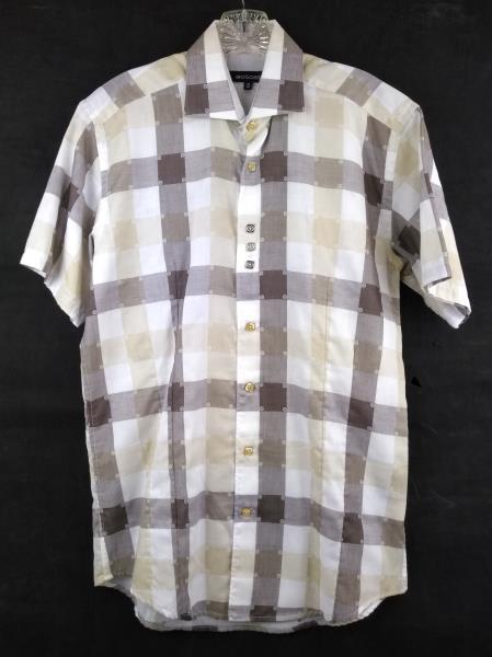 BOGOSSE Premium Men S/2 Short Sleeve Triple Button Shirt - White & Brown Plaid