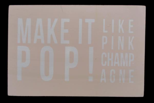 Lot of 2 Plywood Postcard Black Friendship Quote Pink Make it Pop