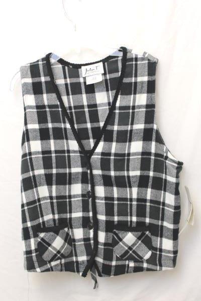 Women's Jadyn T 3 Piece Black White Flannel Cotton Plaid Checker Size Medium