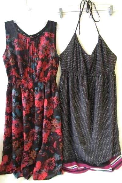 Lot of 2 Romy & Old Navy Multicolor Lace Floral Stretch Polka Dots Dresses Sz S