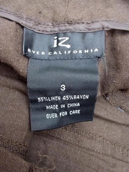 IZ Brown Linen Blend Capri Pants Women's Size 3 ~ EUC