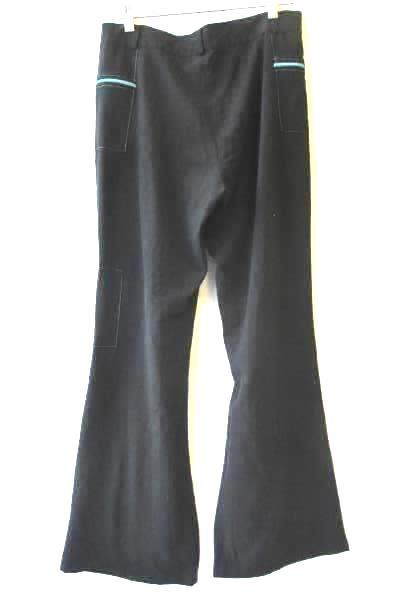 Women's Black Blue Pants By Jason Size 3 Stitched Pockets Zippers Button Fly