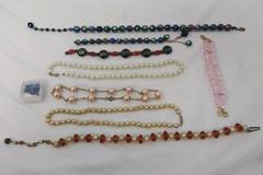 Mixed Lot Beaded Jewelry for Jewelry Making, Faux Pearls, Crystals, Glass Beads