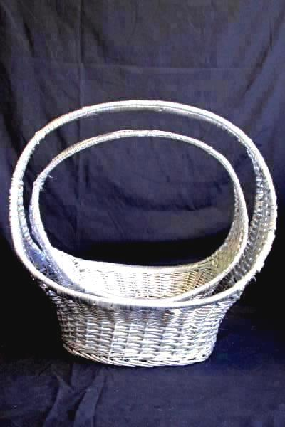 "Pair Of Oval Silver Willow Baskets Home Decor 12.5"" and 15"""