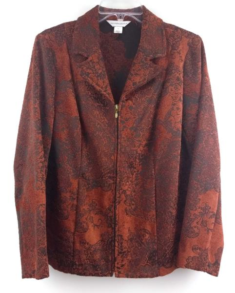 CHRISTOPHER & BANKS Burnt Red Burnout Velvet Zip Up Career Blazer Jacket MEDIUM