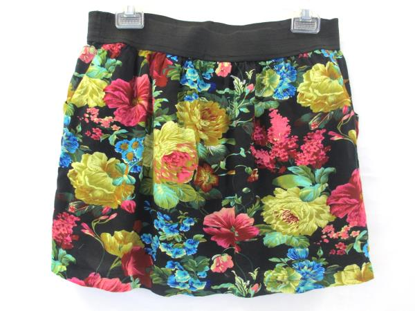 Skirt by Poetry Clothing Multi-Color Floral Women's Size Large Elastic Waistband