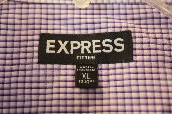 Men's Button Up Shirt By Express Long Sleeve White Purple Plaid Size XL