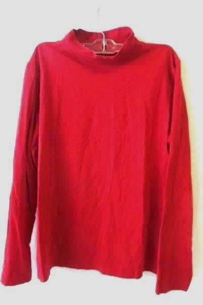 Turtleneck Long Sleeve Shirt by Croft & Barrow Solid Red Women's Size L