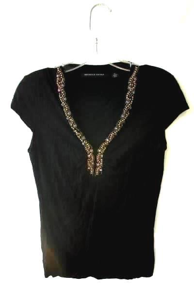 Women's Blouse Black By Michelle Nicole Size M Gold and Clear Beaded Neckline