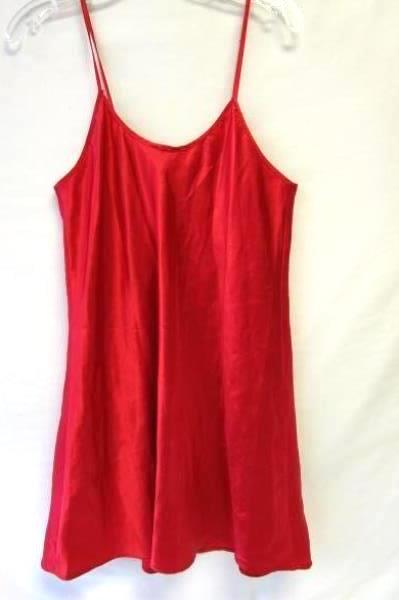Women's Red Adult NightGown By Cinema Etoile Sz M 100% Polyester Spaghetti Strap