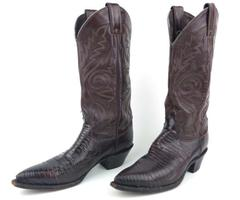 Vtg JUSTIN Cowboy Boots Leather Iguana Lizard Skin Brown 4888 Men's 6.5 C