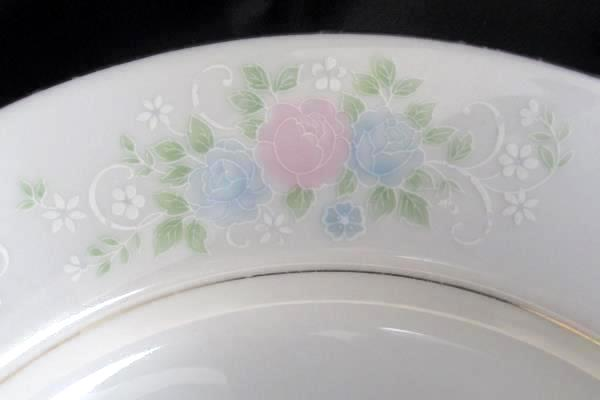 "Set of 2 China Garden Prestige Floral Print Etched Glass 10.5"" Dinner Plates"