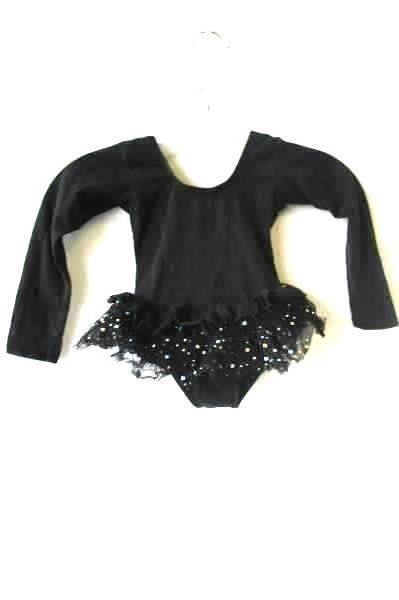 Black Tutu One Piece by Popatu Infant's Size XSC Sequins Sparkle Long Sleeves