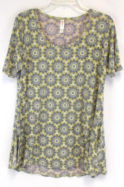 LuLaRoe Women's Yellow & Blue Color Classic Top Size XS Floral Pattern