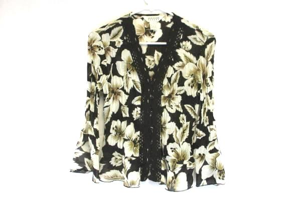 Allison Taylor Women's Brown & White Floral Top & Skirt 2 Piece Outfit Size S