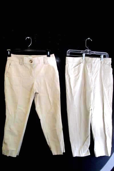 Lot Of 2 Khaki Pants by Loft & Land's End Tan Women's Size 6 Zipper Button Close