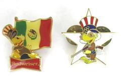 Lot Of 2 Olympic Budweiser Lapel Pins Gold Toned 90's