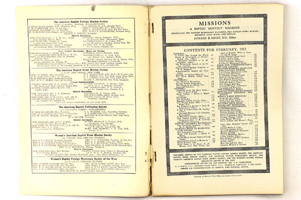 Missions Baptist Monthly Magazine Antique Book February 1913 Vol. 4 No. 2