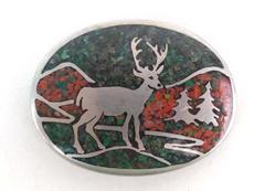 Western Belt Buckle Native Craftsmen Fine Pewter Elk Trees Mountain Design Inlay