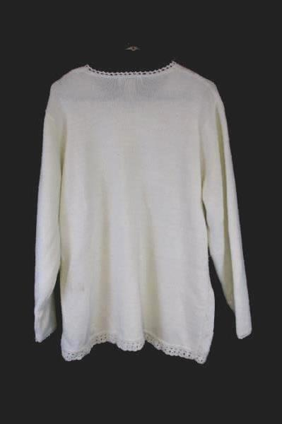 Vintage KORET White Snowflake Sweater Long Sleeve Acrylic Nylon Rayon Blend Sz L