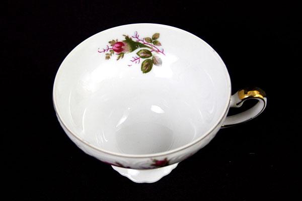 Porcelain Snack Set Rose Pattern With Gold Trim Picnic