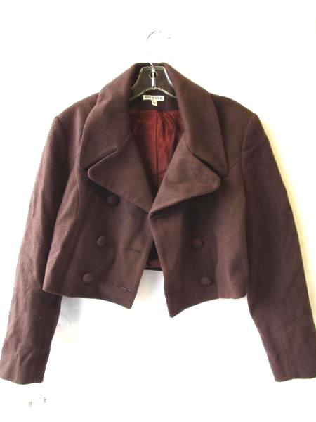 Women's Brown Cropped Dress Coat by 81st and Park Size M Long Sleeves Button Up