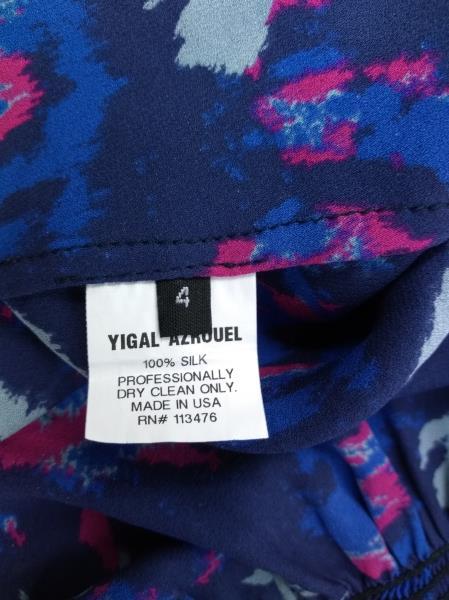 YIGAL AZROUEL Ikat Floral Silk Crepe Ruffle Dress in Night Multi Blue Sz 4