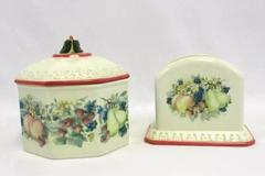 Lot of 2 Avon Sweet Country Harvest Napkin Holder Lidded Tea Canister Ceramic