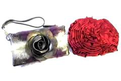 Lot Of Two Purses Red Rose And Grey Rose