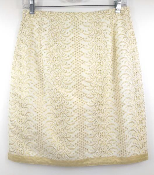 BANANA REPUBLIC Ivory Gold Eyelet Embroidered Career Pencil Skirt Petite Size 2P