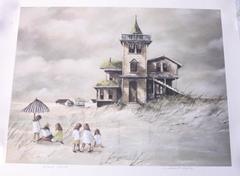 """Robert Fabe Signed Offset Lithograph """"Beach House"""" Unframed"""