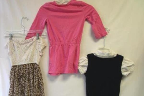 Lot Of 3 Girls Dresses & Vest Shirt Sz M 7/8 Short Sleeve Sleeveless Multicolor