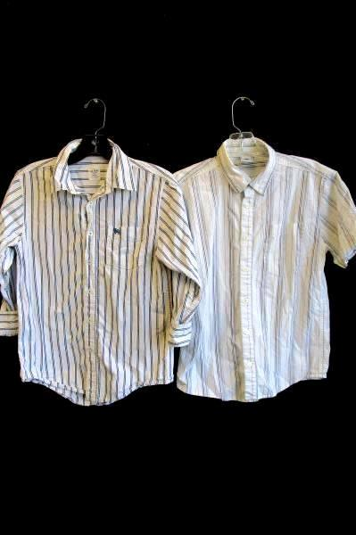 Lot of 2 Boy's Multi-Color Old Navy Button Down Shirts Long Short Sleeve Size L