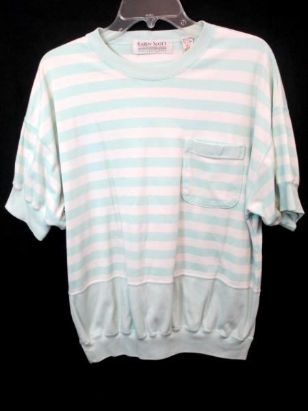 Lot of 2 Women's Shirts By Karen Scott & Teddi White Turquoise Black Size L